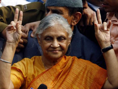 Sheila Dikshit flashes a victory sign after winning the elections in 2008 in this file photo. Manpreet Romana/AFP Photo