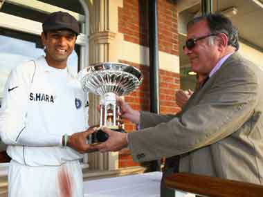 With Dravid in 2007 when India won the Pataudi Trophy against England. Getty Images.