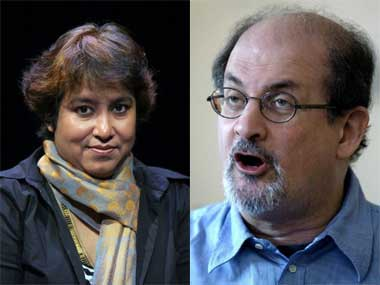 Taslima Nasreen and Salman Rushdie. AFP