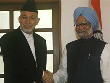 Manmohan Singh and Hamid Karzai