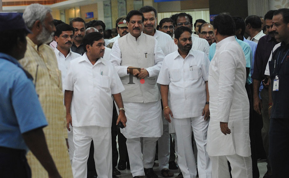 Maharashtra Chief Minister Prithviraj Chavan along with other ministers of the state arrives to visit Union Science and Technology Minister Vilasrao Deshmukh, being treated at a hospital, in Chennai.  Chavan accompanied by Deputy Chief Minister Ajit Pawar and several other ministers visited the hospital and enquired about Deshmukh's condition with his family members. Firstpost