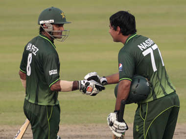 File picture of Pakistan's Mohammad Hafeez and  Nasir Jamshed. Reuters