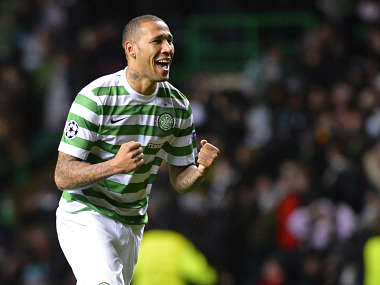 Celtic's Kelvin Wilson celebrates at the final whistle following their Champions League Group G soccer match against Barcelona at Celtic Park, Glasgow, Scotland. Reuters
