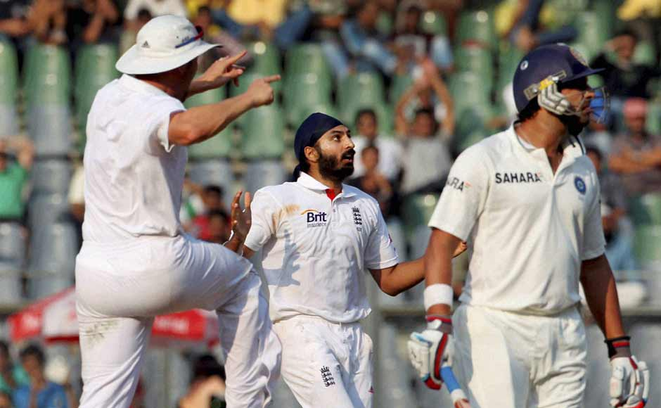 Monty Panesar was the man who troubled India the most. He finished with 11 wickets in the match. Here is he after scalping Yuvraj Singh. PTI