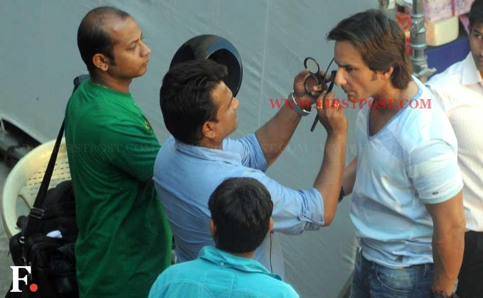 Saif Ali Khan shooting for a Lays commercial at St Xavier's college in Mumbai on Monday. Sachin Gokhale/Firstpost