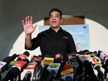 Kamal Haasan at his Chennai office yesteday: PTI