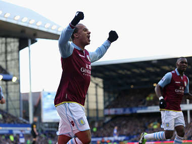 Agbonlahor celebrates after scoring during the 3-3 draw with Everton. Getty Images