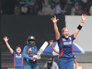 Brunt appeals for the wicket of Mithali Raj. ICC/Solaris Images