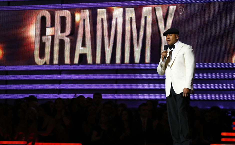Host LL Cool J speaks at the 55th annual Grammy Awards in Los Angeles on Sunday. Reuters