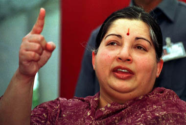 JAYARAM JAYALALITHA ADDRESSES A NEWS CONFERENCE IN NEW DELHI.