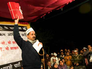 Arvind Kejriwal at the jan sabha in Patel Nagar. Naresh Sharma/ Firstpost