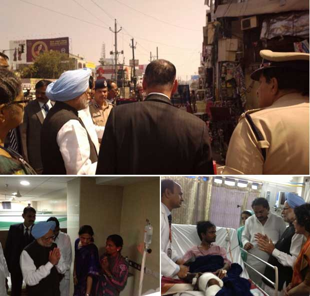 Prime Minister Manmohan Singh visits Hyderabad after the twin blasts on Thursday. Image courtesy PMO