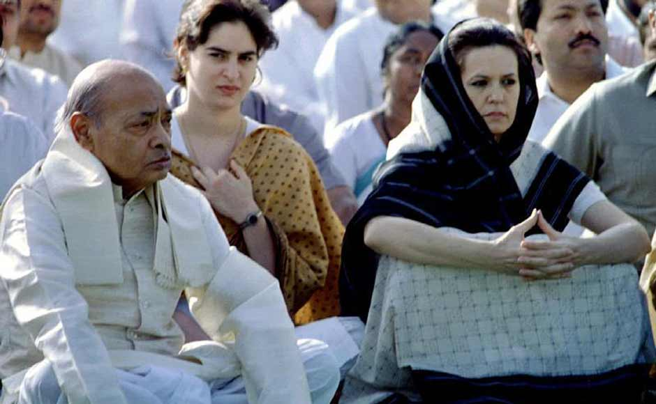 Sonia Gandhi with Congress president and then Prime Minister Narasimha Rao at a prayer ceremony in 1995. Sonia had allegedly already begun playing a role in the Congress despite not being a member of the party. Reuters