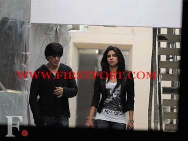 Shah Rukh Khan and  Priyanka Chopra outside SRK's office in Mumbai's Khar at about 11pm, on Jan 18, 2012. Firstpost