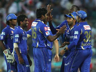 Rajasthan celebrate a wicket en route to their win over DD. BCCI