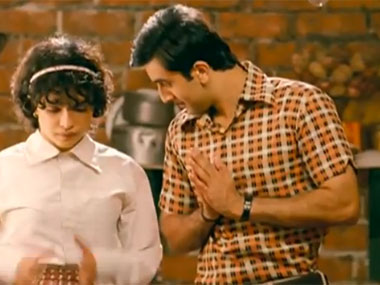 Priyanka Chopra and Ranbir Kapoor from a scene in Barfi