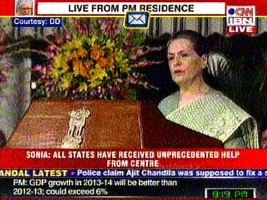 Sonia Gandhi at the UPA-II's anniversary function. Image courtesy: Ibnlive