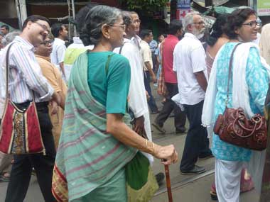 Jayasree Mukherjee participated in the march with her son. Sandip Roy/ Firstpost