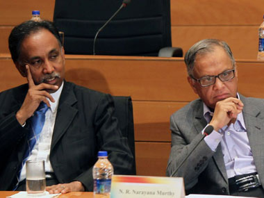 Infosys MD Shibulala with Narayana Murthy. AFP