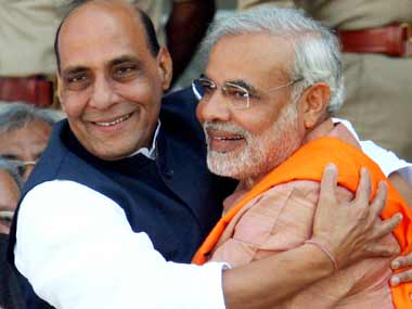 Narendra Modi received a warm embrace - and the sweet news of an imminent anointment - from Rajnath Singh on Wednesday.  Reuters