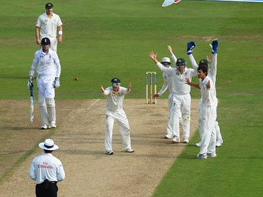Australia appeal in vain for Stuart Broad's wicket. Getty Images