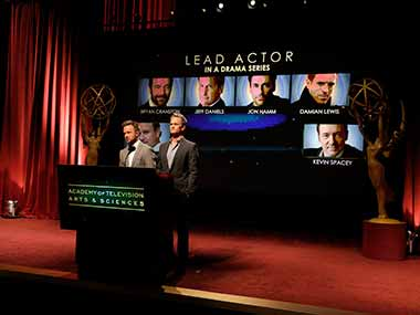 Actors Aaron Paul, left, and Neil Patrick Harris announce nominations at the 65th Primetime Emmy Nominations Announcements at the Leonard H. Goldenson Theatre at the Academy of Television Arts & Sciences. AP
