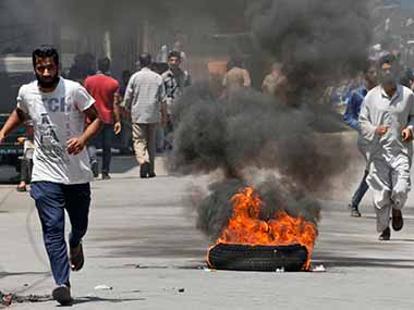 Protesters in Kashmir during today's protest. AP