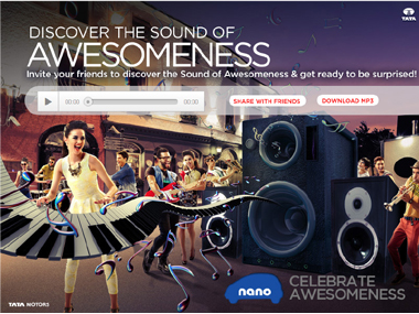 Screenshot of the Tata Nano 'Sound of Awesomeness'. Facebook