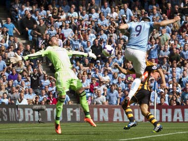 Alvaro Negredo scores past Hull keeper Allan McGregor. AP