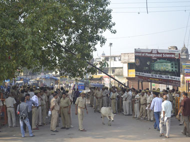 The security cordon along the Sarayu river. Image courtesy: Danish Raza/Firstpost