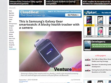 Galaxy Gear in this screengrab of VentureBeat.