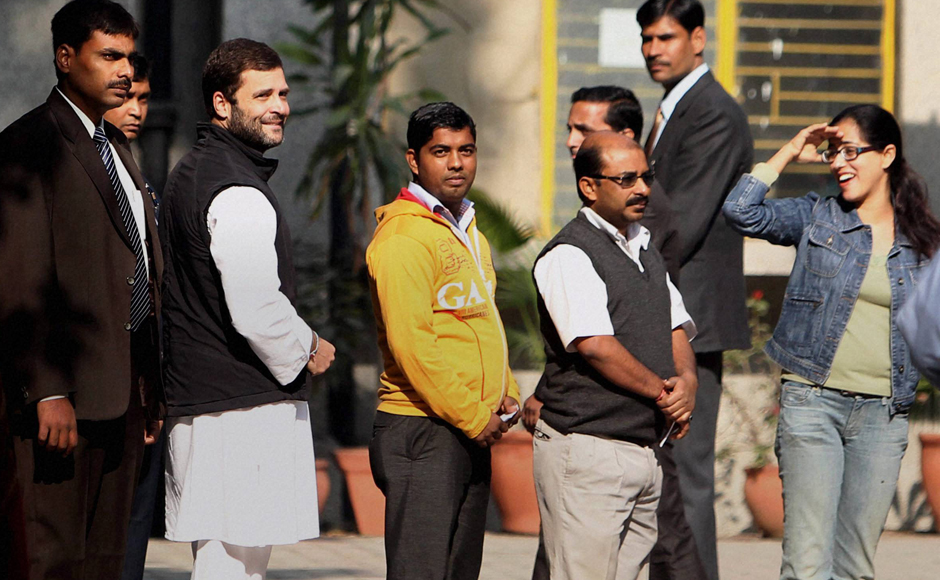 Congress Vice President Rahul Gandhi waits in a queue at a polling station to cast his vote in New Delhi in the Delhi Assembly elections on Wednesday. PTI