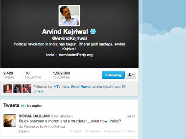 Screenshot of Arvind Kejriwal's Twitter timeline.