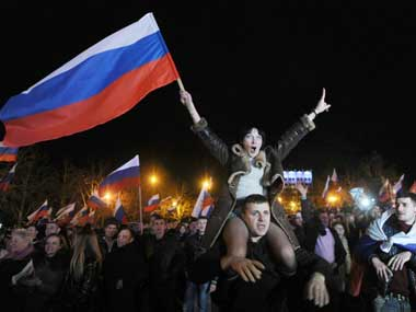 A rally in Crimea on Tuesday. AFP