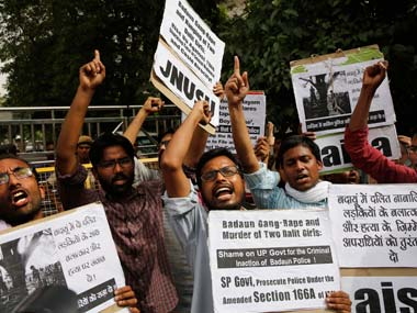 Students in Delhi protesting the Badaun gangrape case. Representational Image. AP