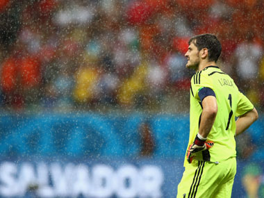 Casillas looks on as his team crumbles against the Dutch. Getty Images