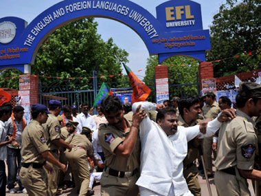 BJP workers protesting against a beef fest in a Hyderabad university clash with police. AFP.