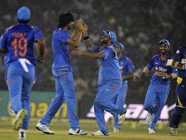 Ishant Sharma of India celebrates the wicket of  Kumar Sangakkara of Sri Lanka during the 1st ODI. Sportzpics
