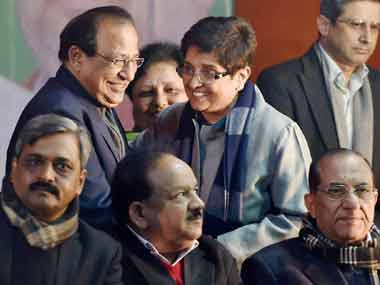 Bedi with other BJP leaders at an event. PTI image