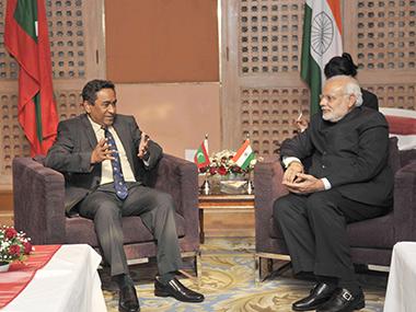 Prime Minister Narendra Modi with Maldives President Abdulla Yameen. PIB