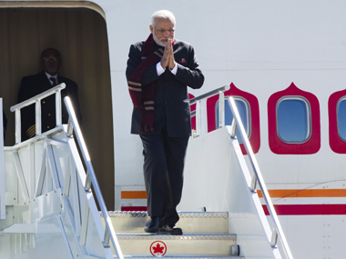 Modi on his arrival in Canada. Reuters image