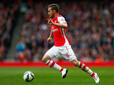 Aaron Ramsey in action against Chelsea at the Emirates Stadium. Getty
