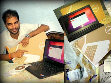 Anuj Chauhan with the laptop. Image Courtesy: Facebook