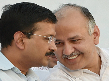 Delhi CM Arvind Kejriwal (left) with Deputy CM Manish Sisodia. PTI