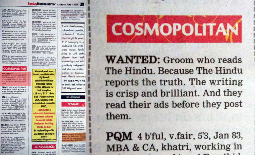 Trolled! A fan of The Hindu posts matrimonial ad in Mumbai