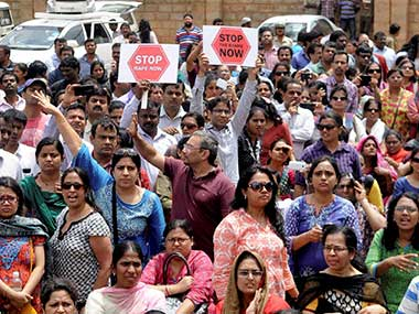 A representational picture of the July 2014 protests in Bengaluru. PTI