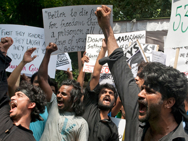 A protest at FTII. Image: Naresh Sharma/Firstpost