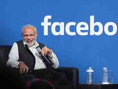 Prime Minister Narendra Modi at the Facebook headquarters in California . AFP