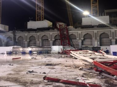 A picture taken Grand Mosque crane after it crashed into it. AFP