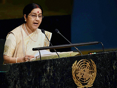 External Affairs Minister Sushma Swaraj at the UN. PTI